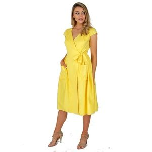 nwot collectif rockabilly yellow dress size 6 s